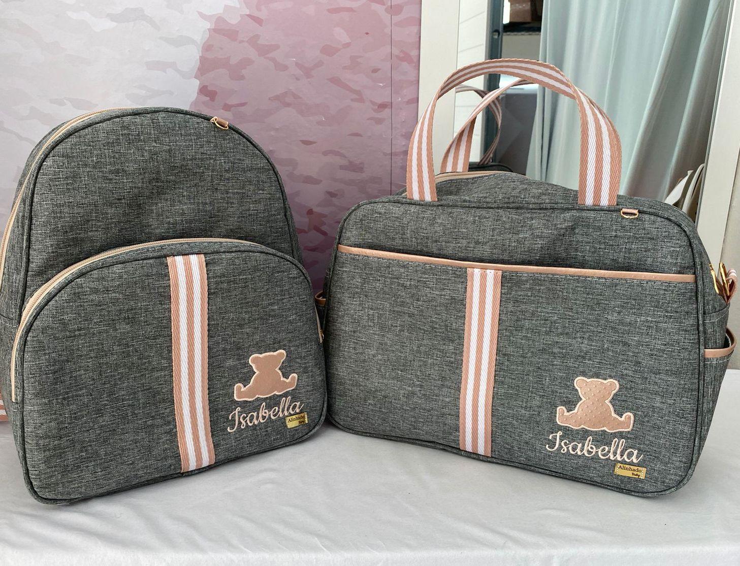 Kit Bolsa Maternidade com Mochila Linho Luxo cinza com Rose - 3 Peças