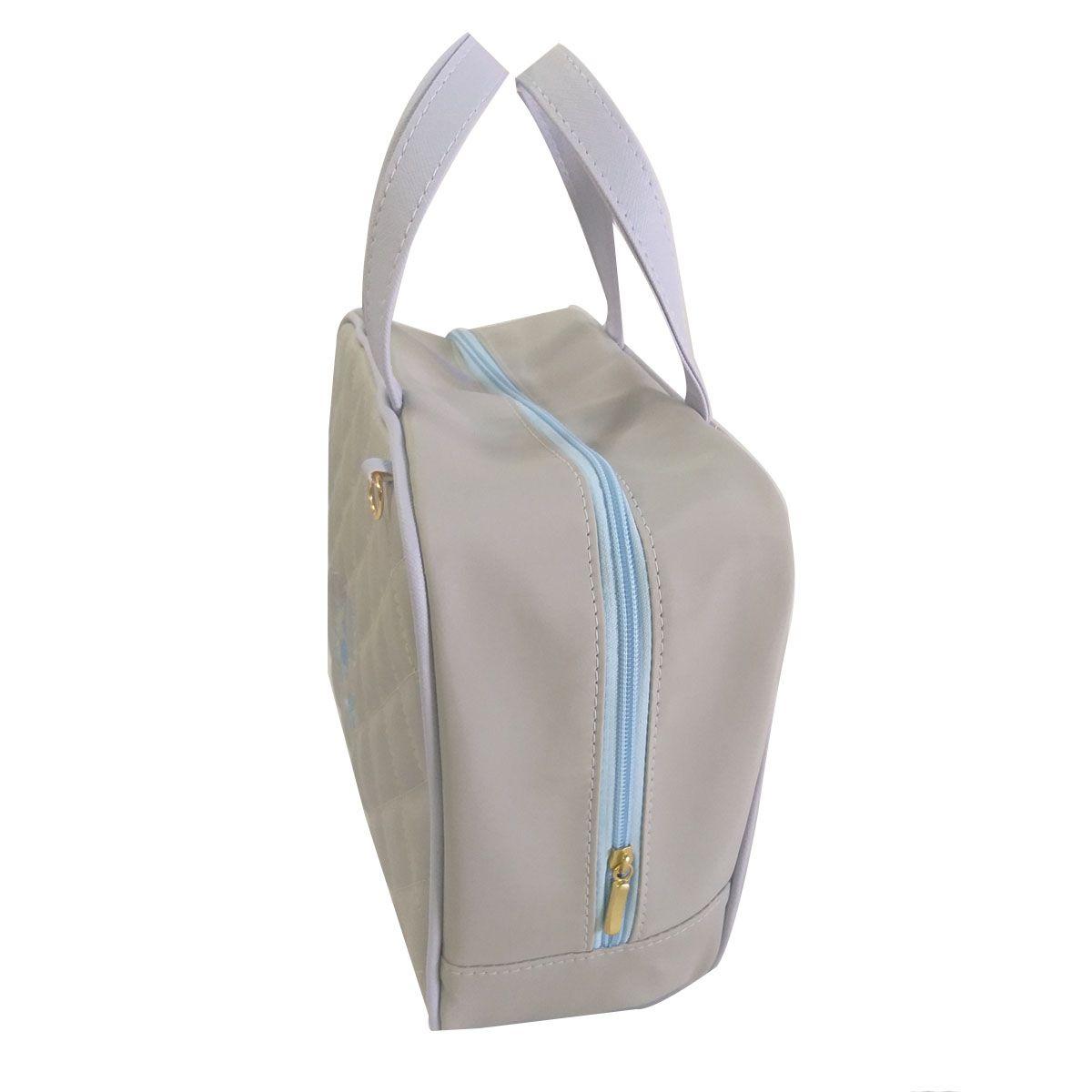 Kit Bolsa Maternidade Completo Cinza com Azul Matelasse
