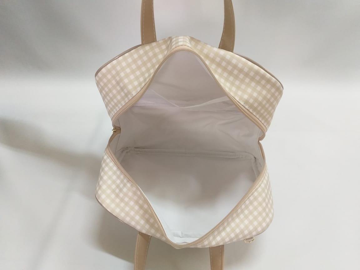 Kit Bolsa Maternidade Completo Xadrez Palha - 4 Peças