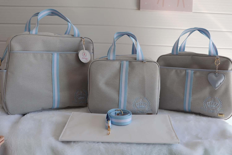 Kit Bolsa Maternidade Linho Bege com Azul Completo -04 Peças