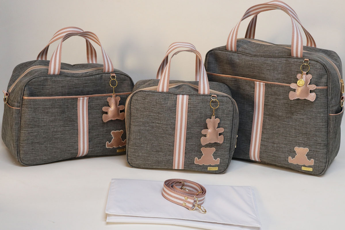 Kit Bolsa Maternidade Linho Cinza com Rosê Completo Alça adicional