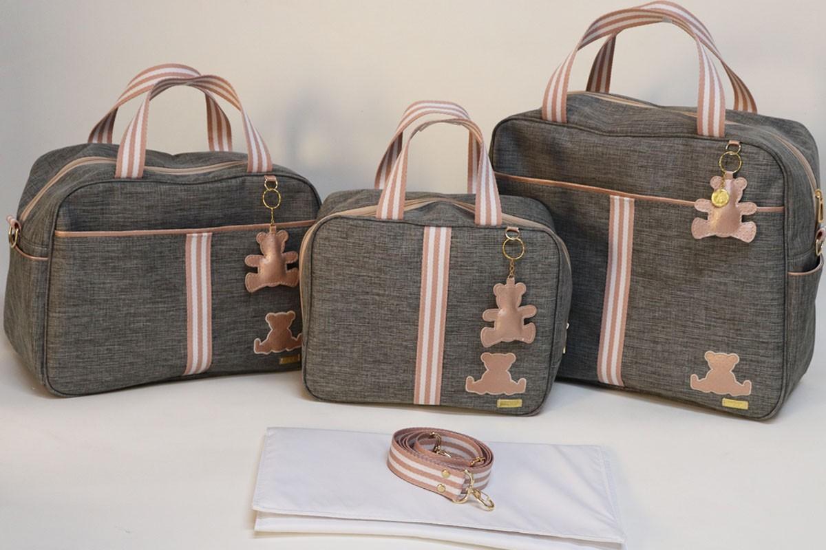 Kit Bolsa Maternidade Linho Personalizado Completo -06 Peças