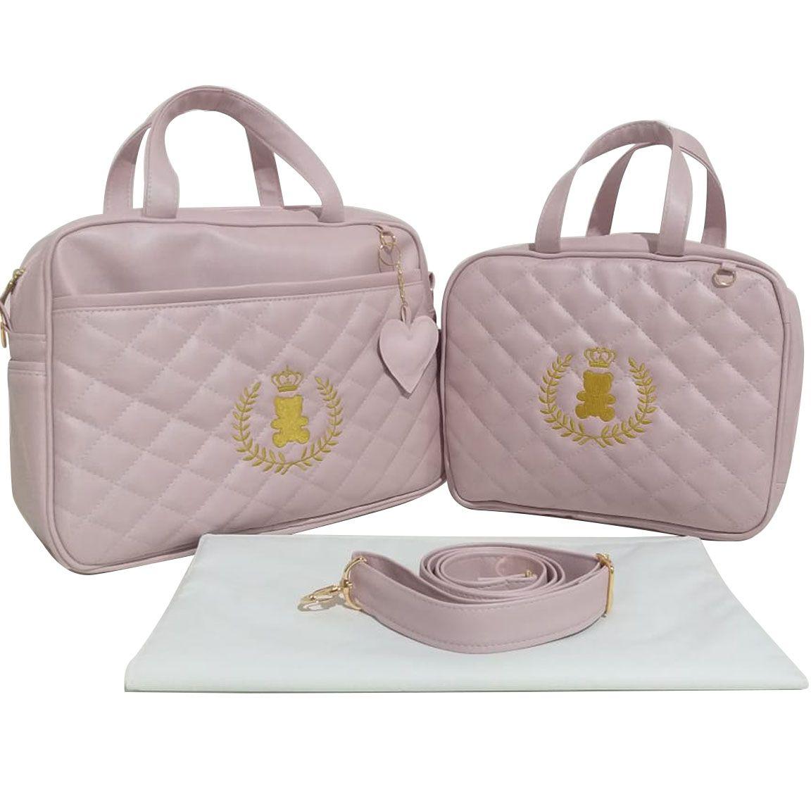 Kit Bolsa Maternidade Luxo Matelassê Rosa - 3 Peças