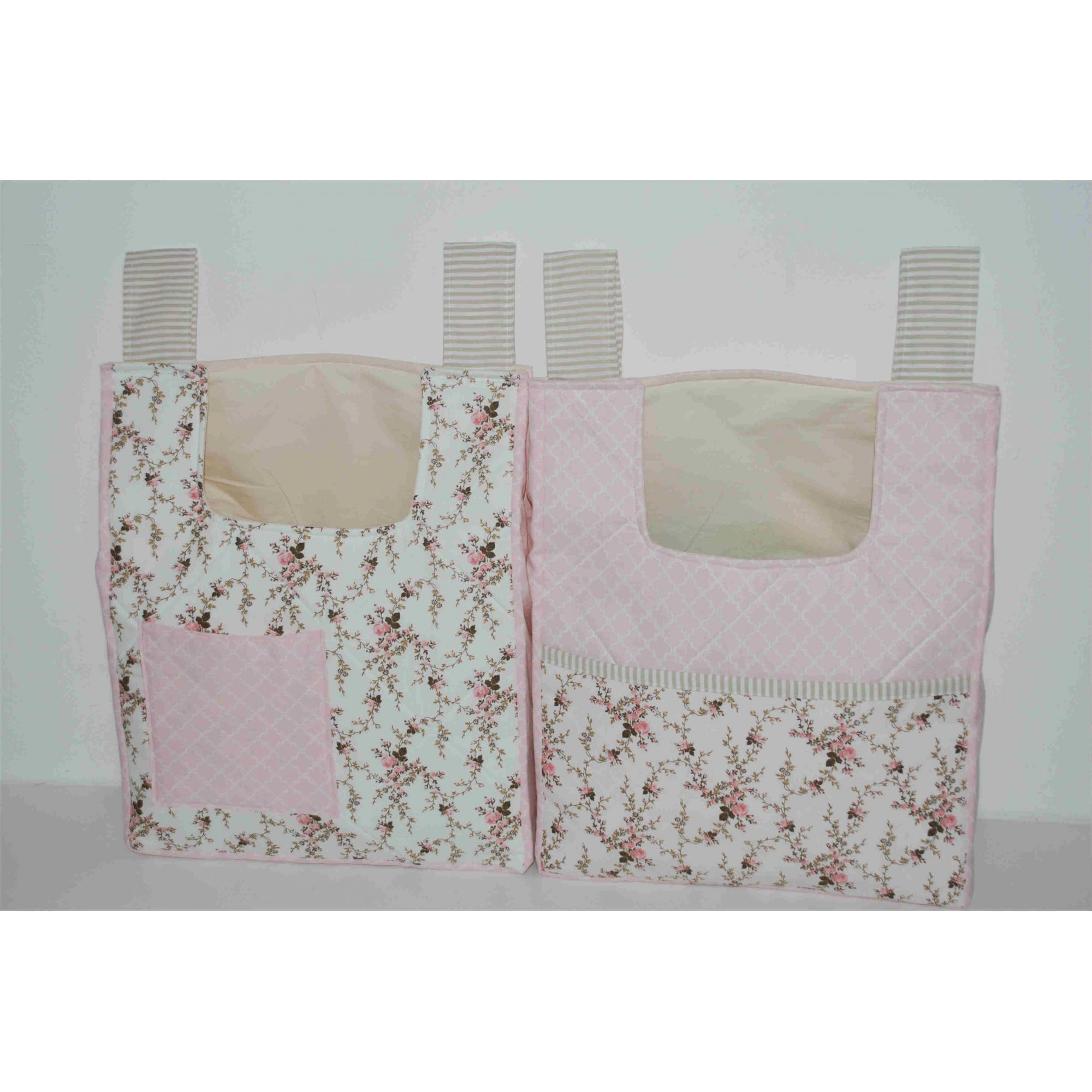 Bolsões Porta Fraldas Floral Rosa