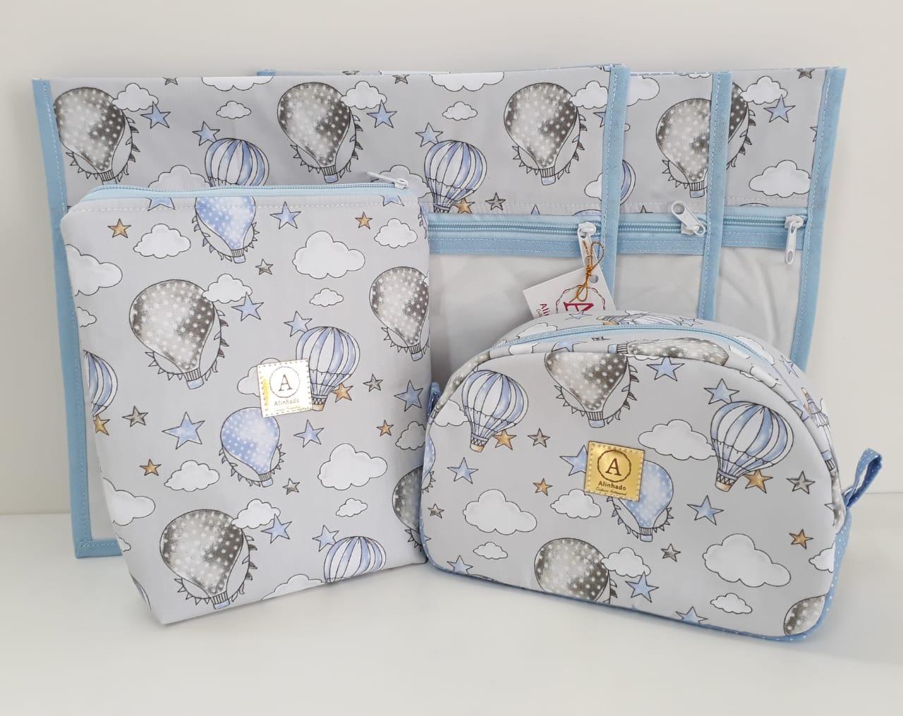 Kit Maternidade - 4 Saquinhos E 2 Necessaires + Porta Fraldas