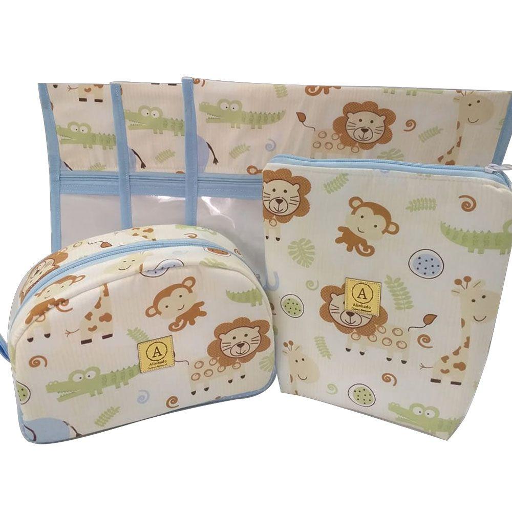 Kit Maternidade Safari Azul - 3 Saquinhos E 2 Necessaires