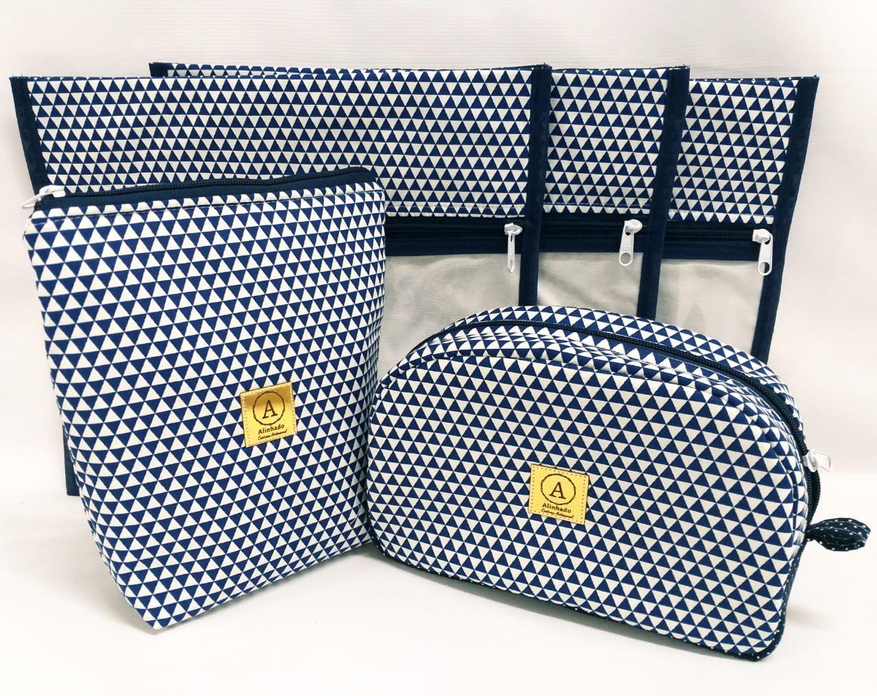Kit Maternidade Triângulos Azul Marinho - 3 Saquinhos E 2 Necessaires