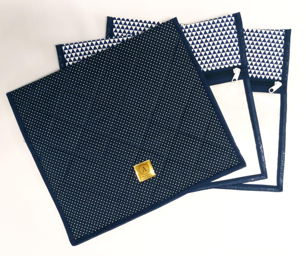 Kit Maternidade Triângulos Azul Marinho - 3 Saquinhos E 2 Necessaires + Saco Roupa Suja