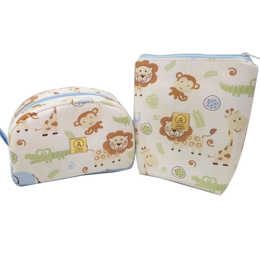 Kit Necessaire Infantil Safari Azul - 2 Peças