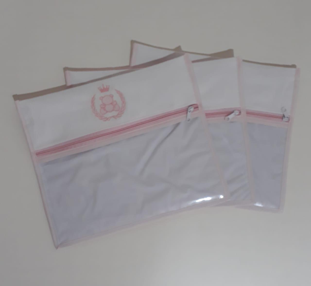 Kit Saquinho Maternidade Bordado com 3 Unidades
