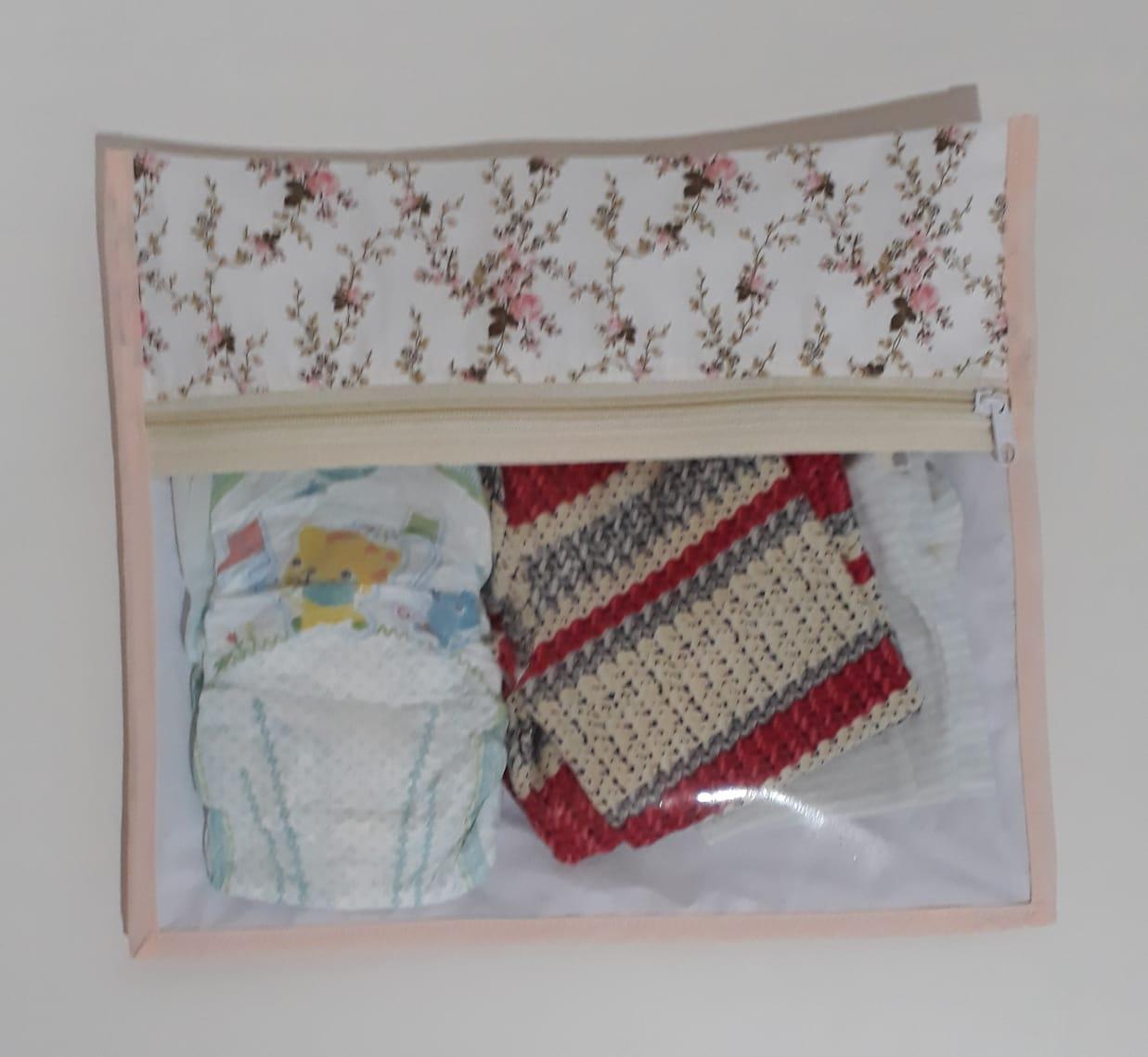 Kit Saquinho Maternidade  Floral  com 3 unidades
