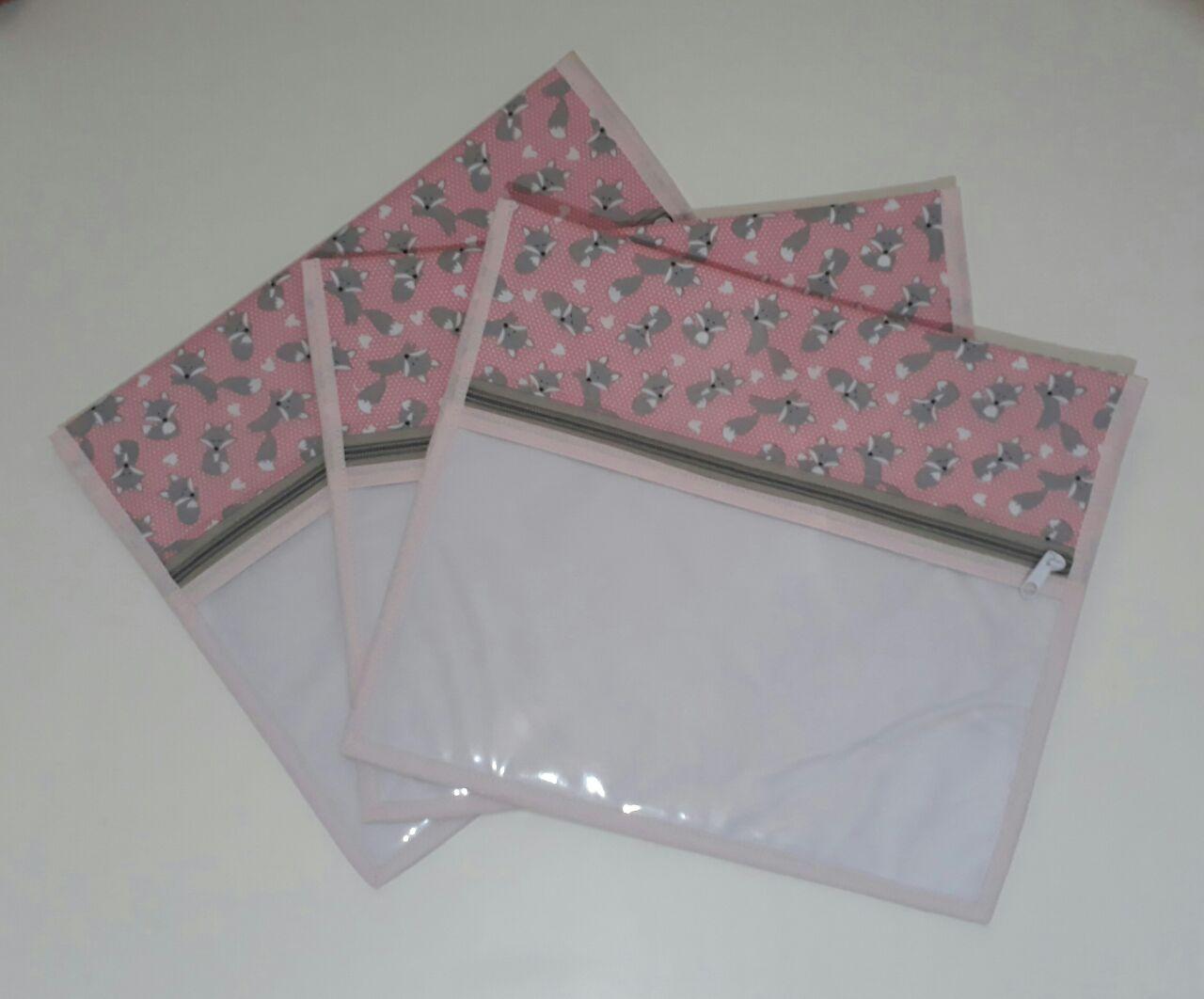 Kit Saquinho Maternidade Raposinha Rosa - 3 Unidades