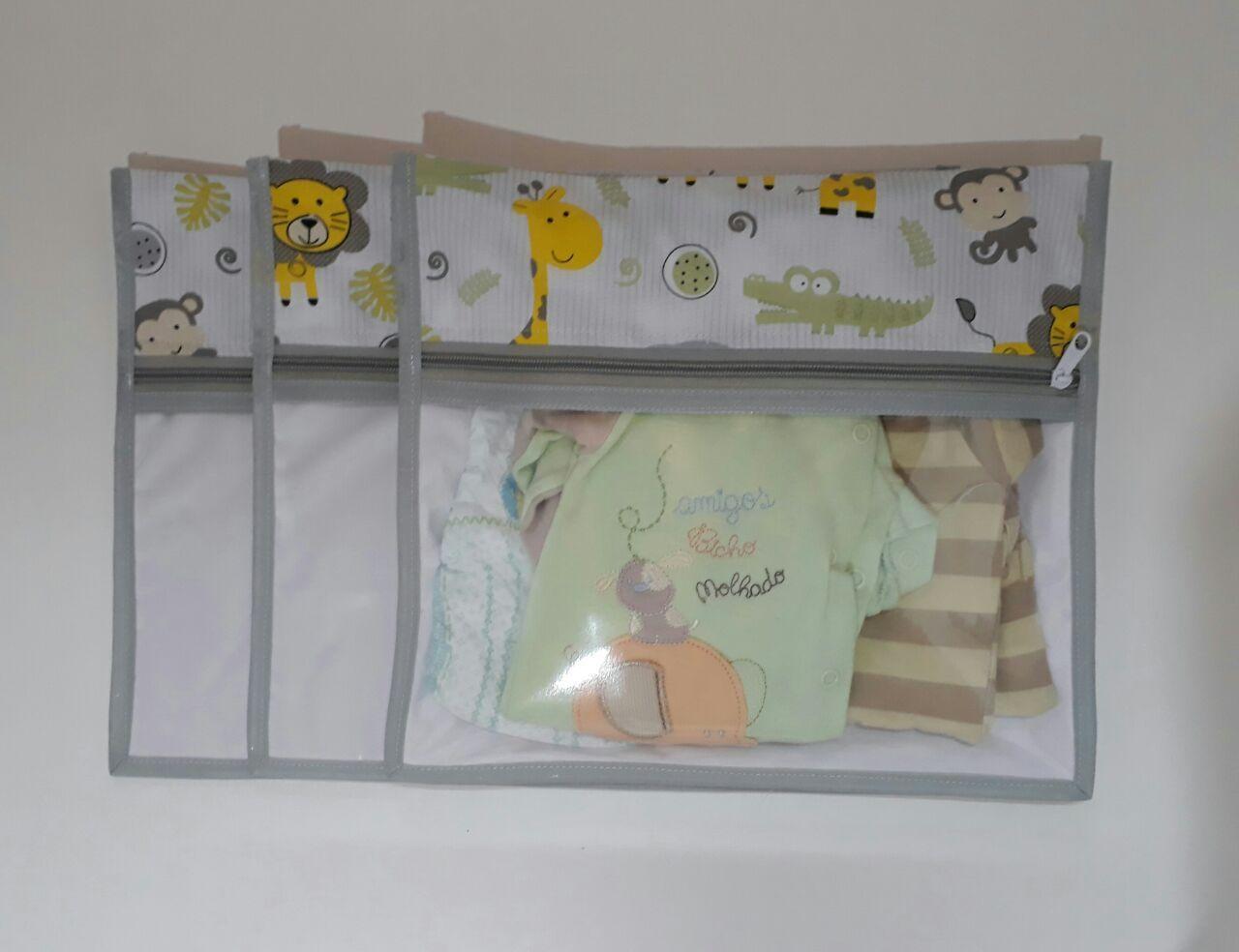 Kit Saquinho Maternidade Safari com 3 Unidades