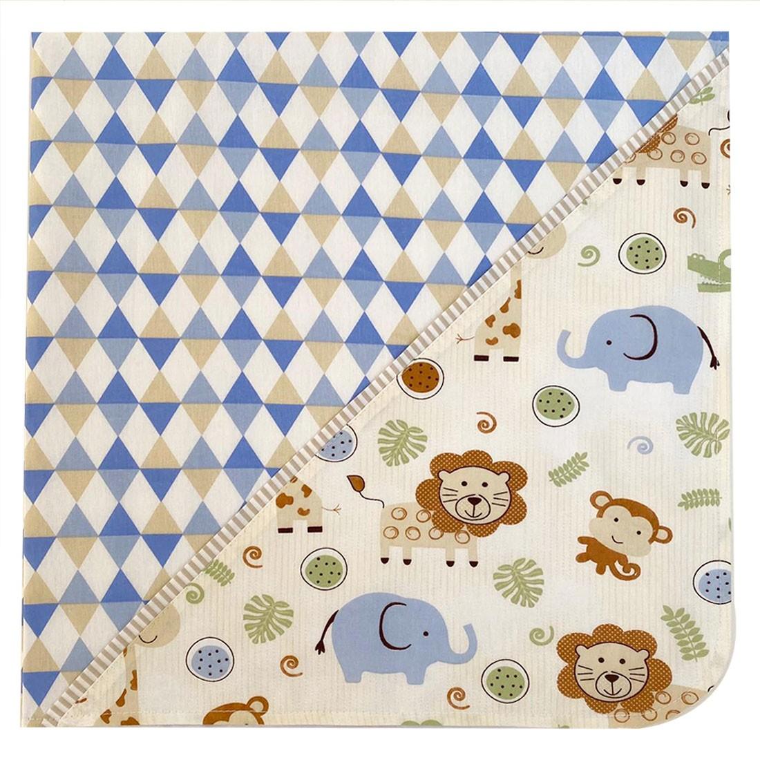 Manta para Bebê em tecido Safari Azul