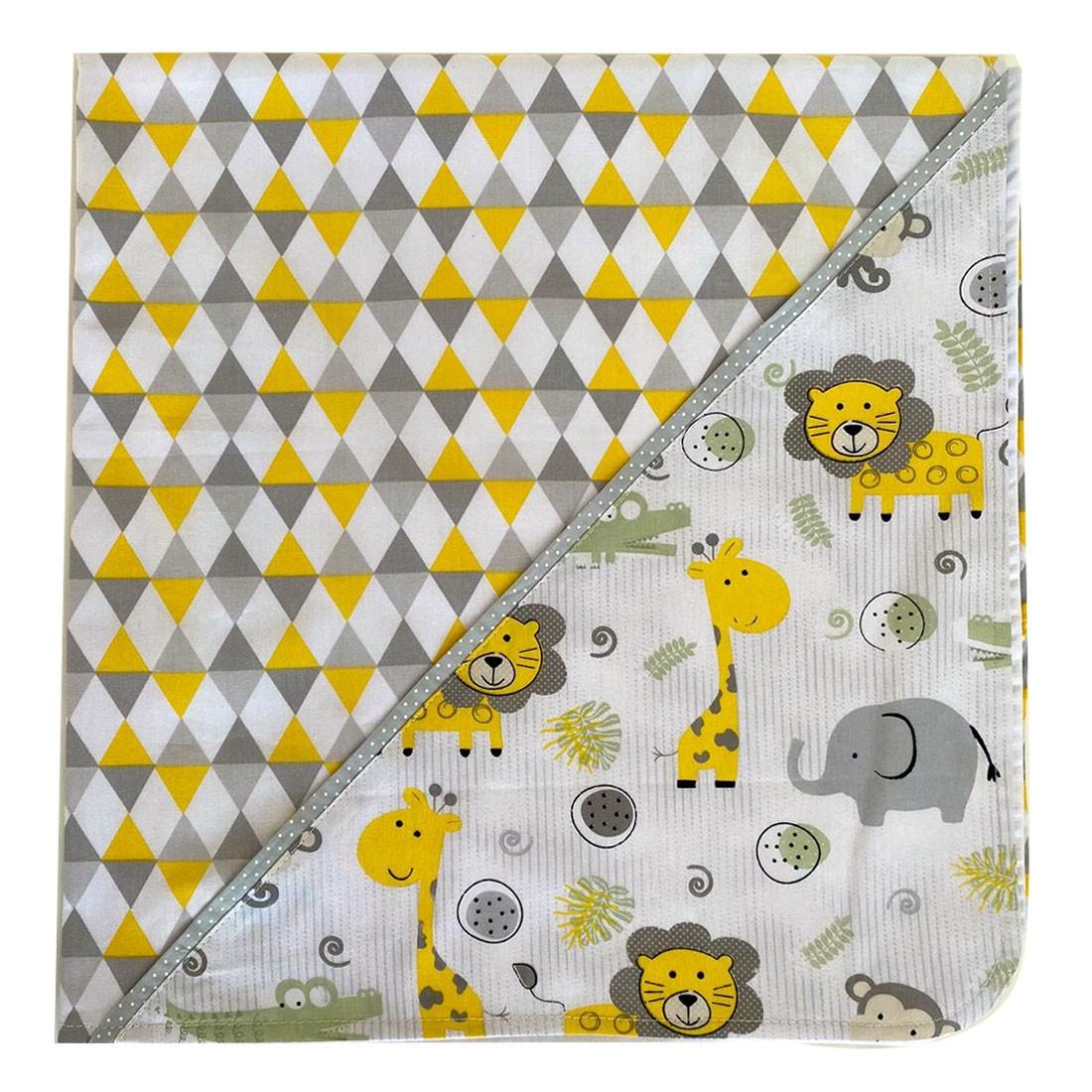 Manta para Bebê em tecido Safari Cinza com Amarelo