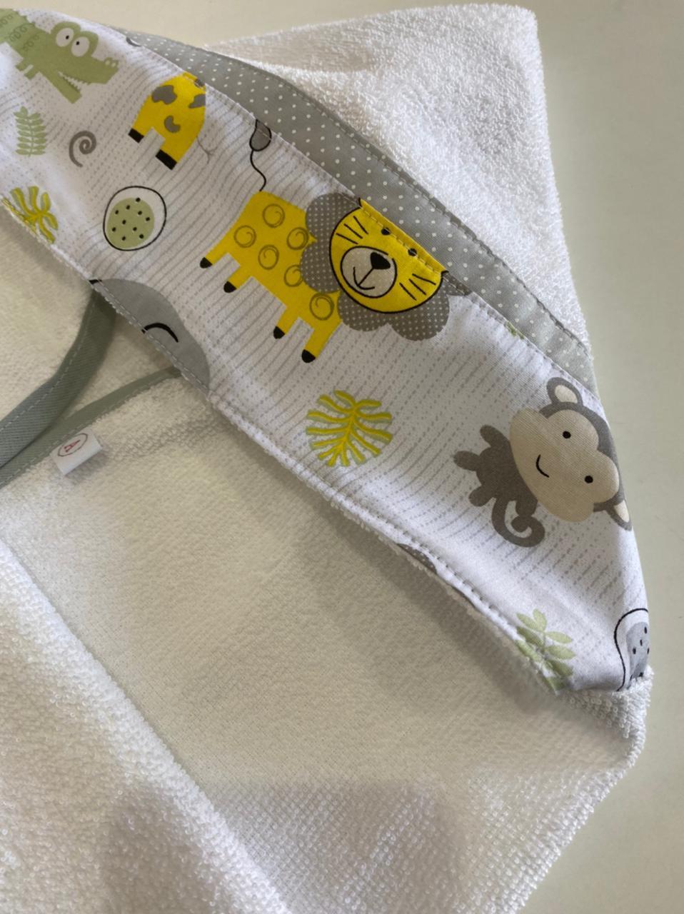 Toalha de Banho Bebê com Capuz Safari com CInza