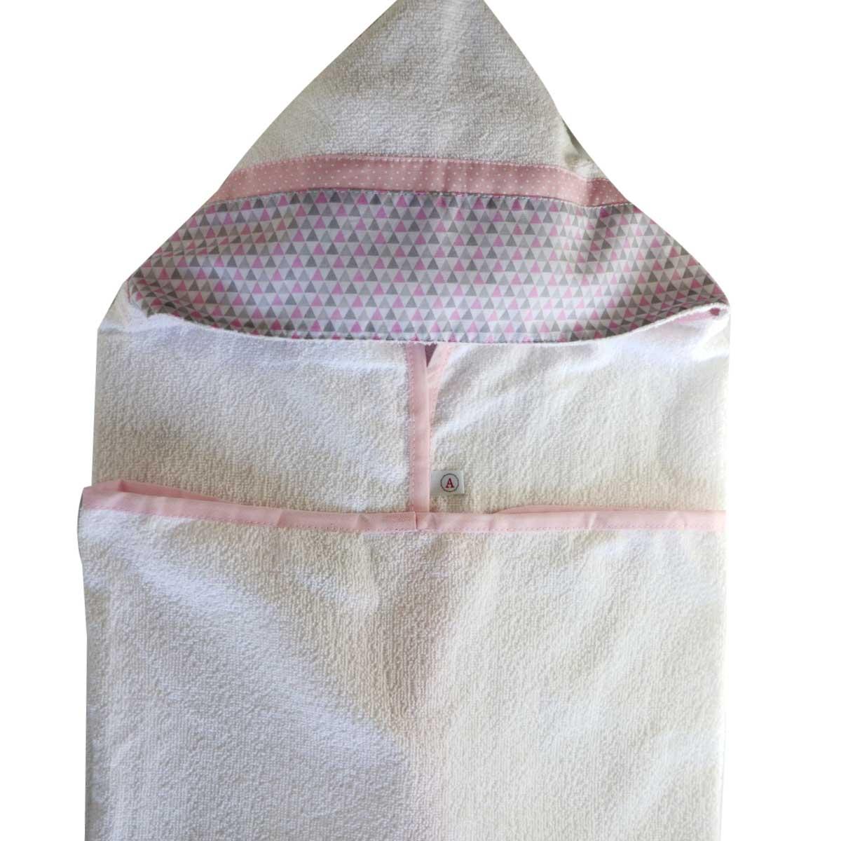 Toalha de Banho Bebê com Capuz Triângulo Rosa com Cinza