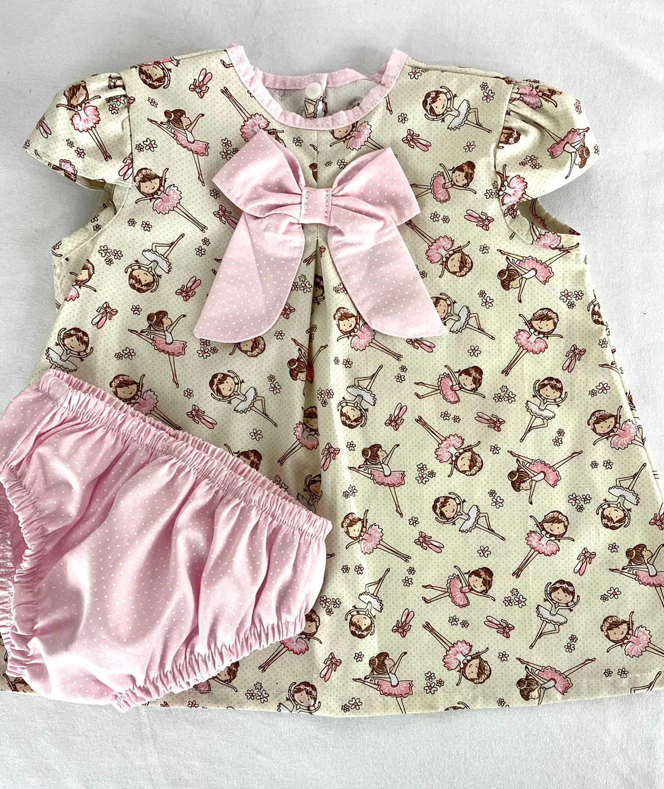Vestido bebê Estampado Bailarina  Creme com Rosa + Calcinha