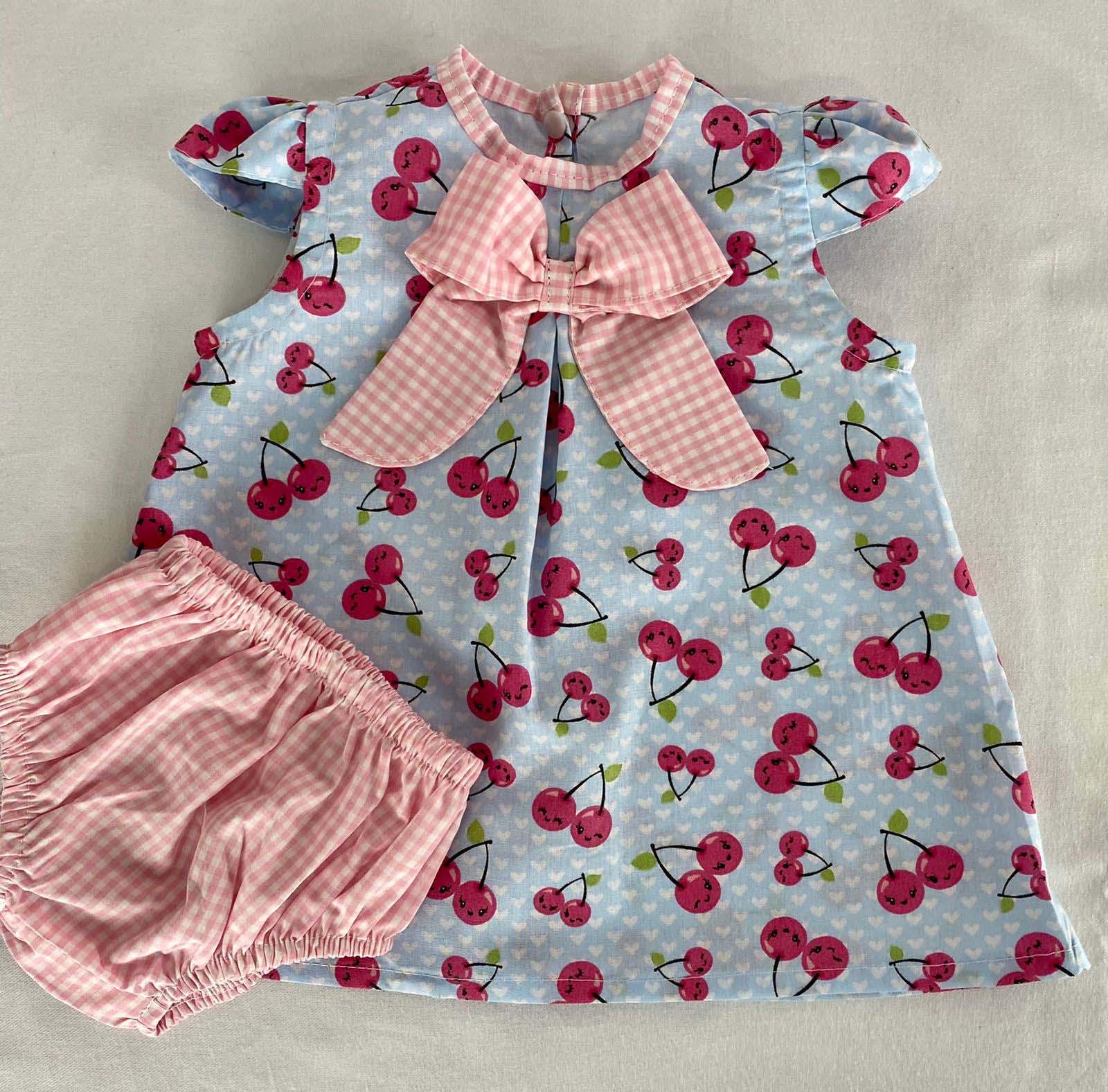 Vestido bebê Estampado Cereja + Calcinha
