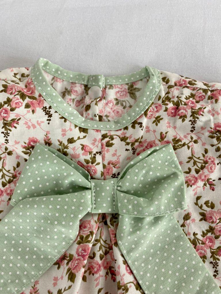 Vestido bebê Estampado Floral com Verde + Calcinha