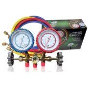 MANIFOLD GAS R12 R22 R134 R404 COM MANGUEIRA 90CM - ECOTOOLS