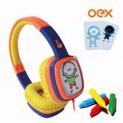 Headphone Cartoon OEX Hp 302 Laranja Azul