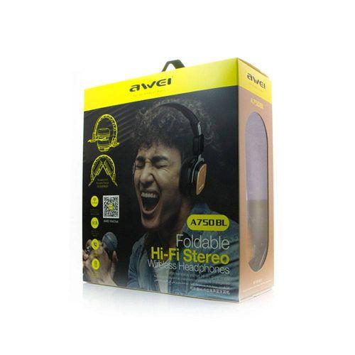 Awei A750 Fone de Ouvido dobrável com Bluetooth e Microfone - Preto/Gold