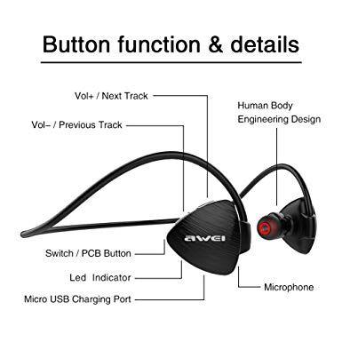 Awei A847BL sem fio Sweatproof  Bluetooth  - preto