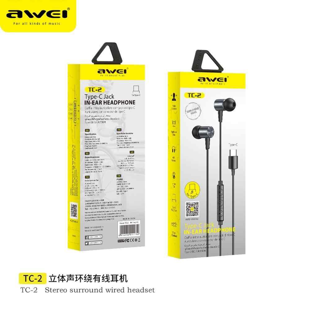 Awei TC-2 Fone de Ouvido Type C Jack In ear Headphone