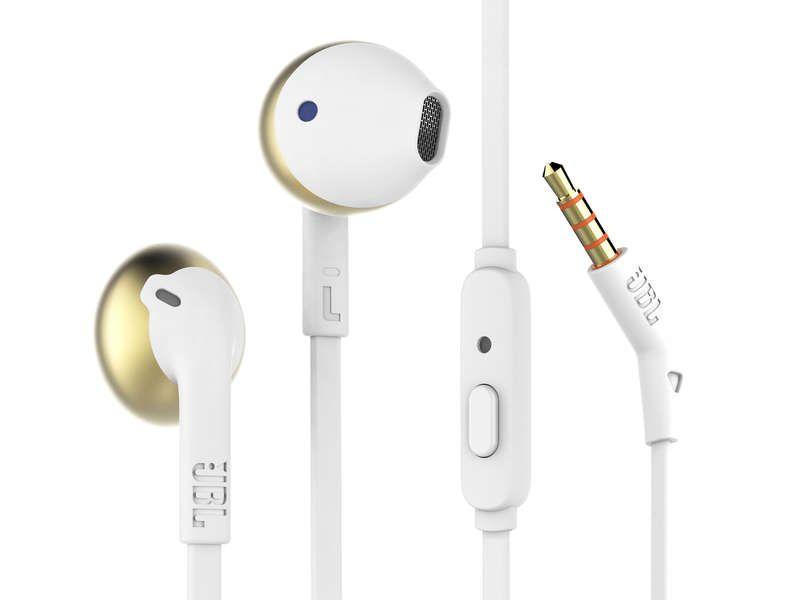 JBL T205 Fone de ouvido com microfone - CGD Branco/Gold