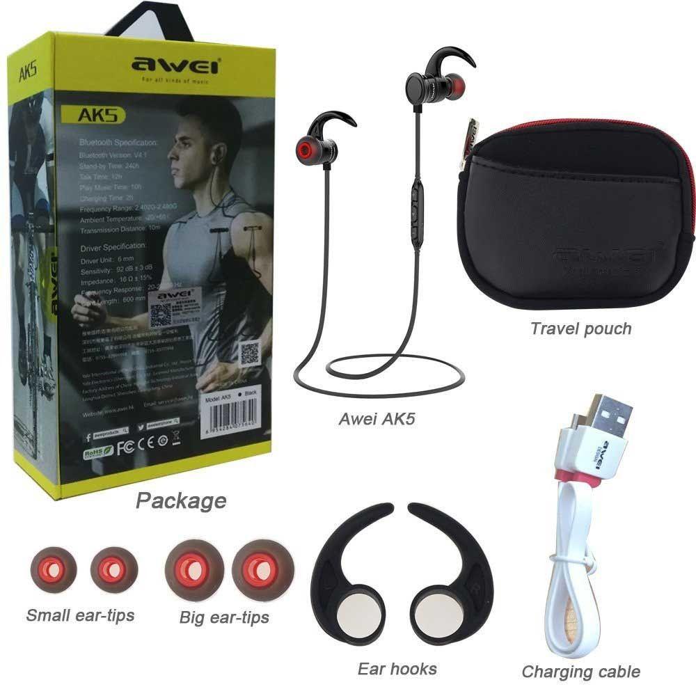 Awei AK5 Fone de Ouvido  Bluetooth 4.1 Preto