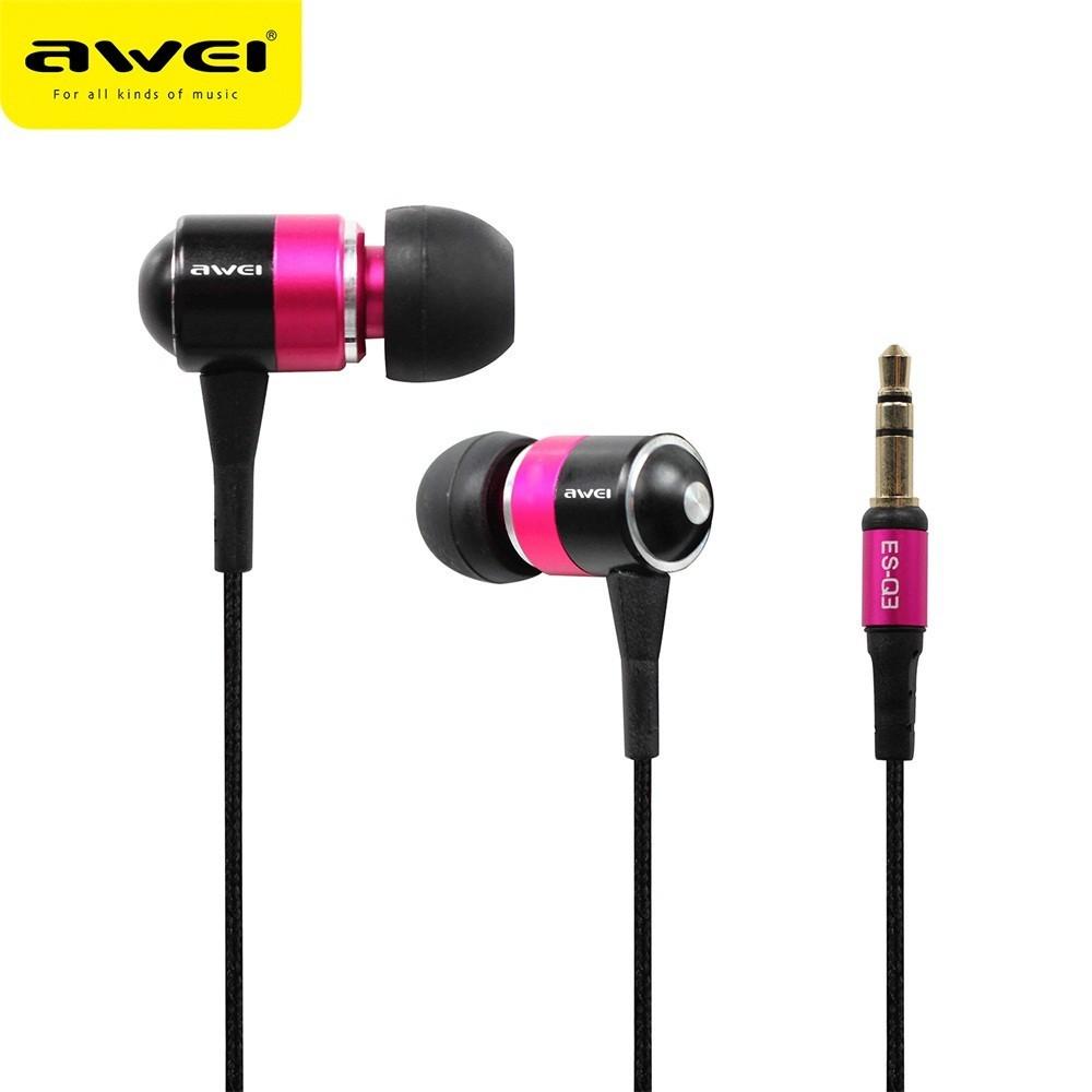 Fone de Ouvido Awei ES-Q3 Stereo In-ear Isolamento de Ruído -  Rosa