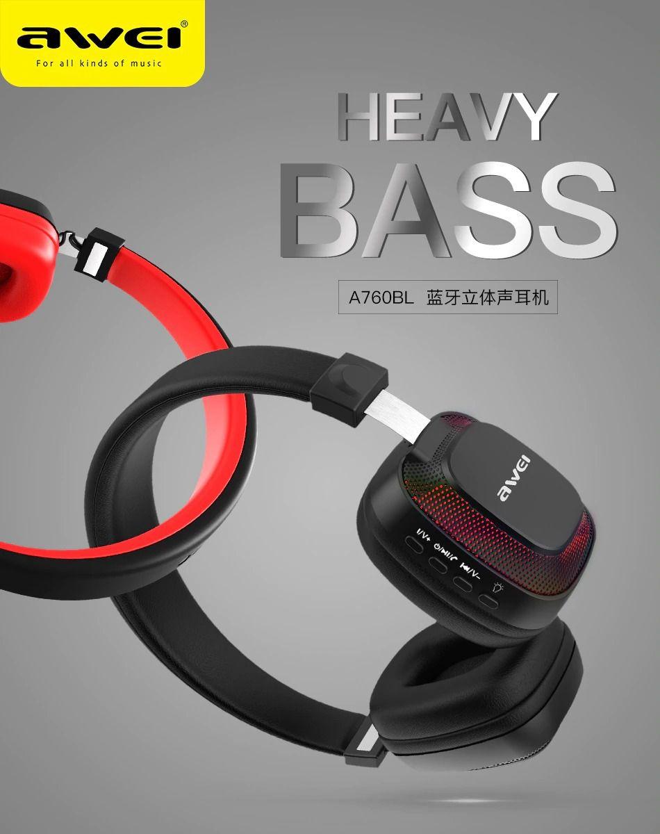 Fone de Ouvido Awei Wireless Stereo  A760 preto e vermelho|Foneland