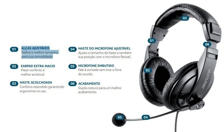 Fone De Ouvido Headset Giant Usb Multilaser - PH245|FONELAND
