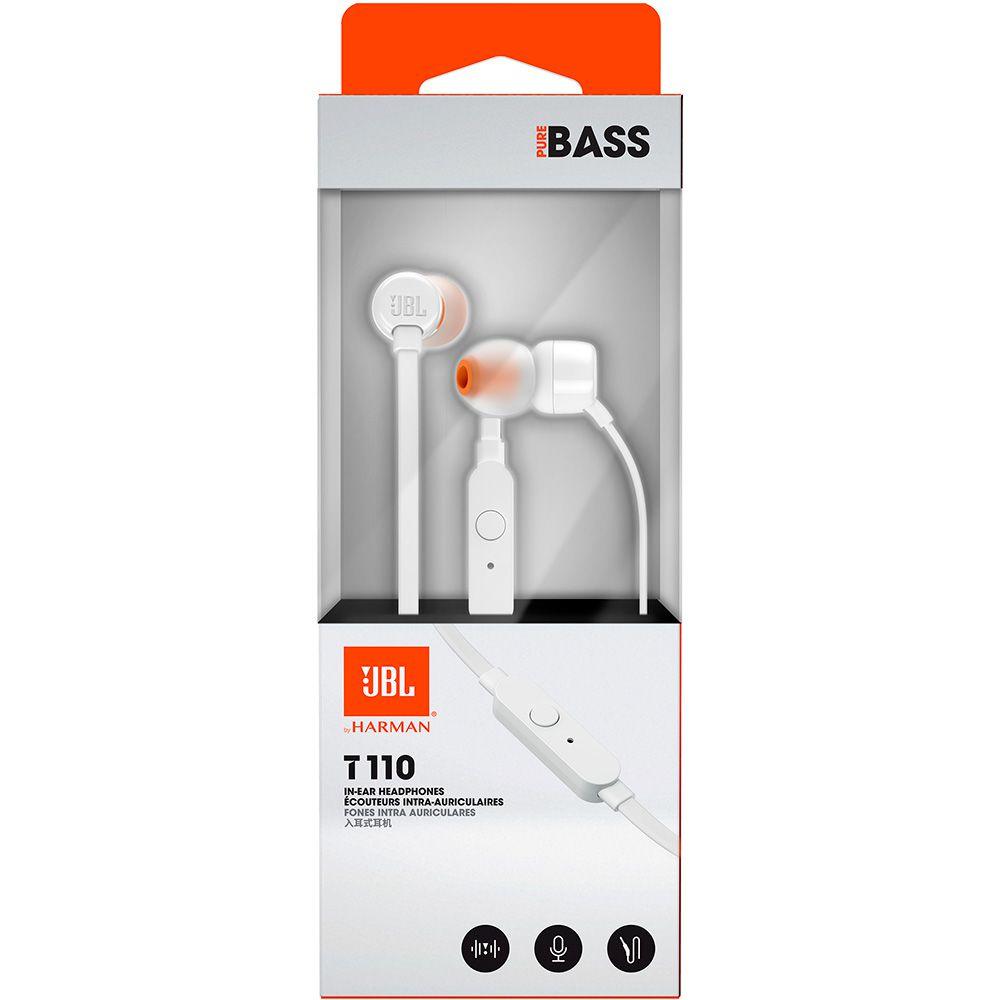 JBL T110 Branco - Fone de ouvido com microfone