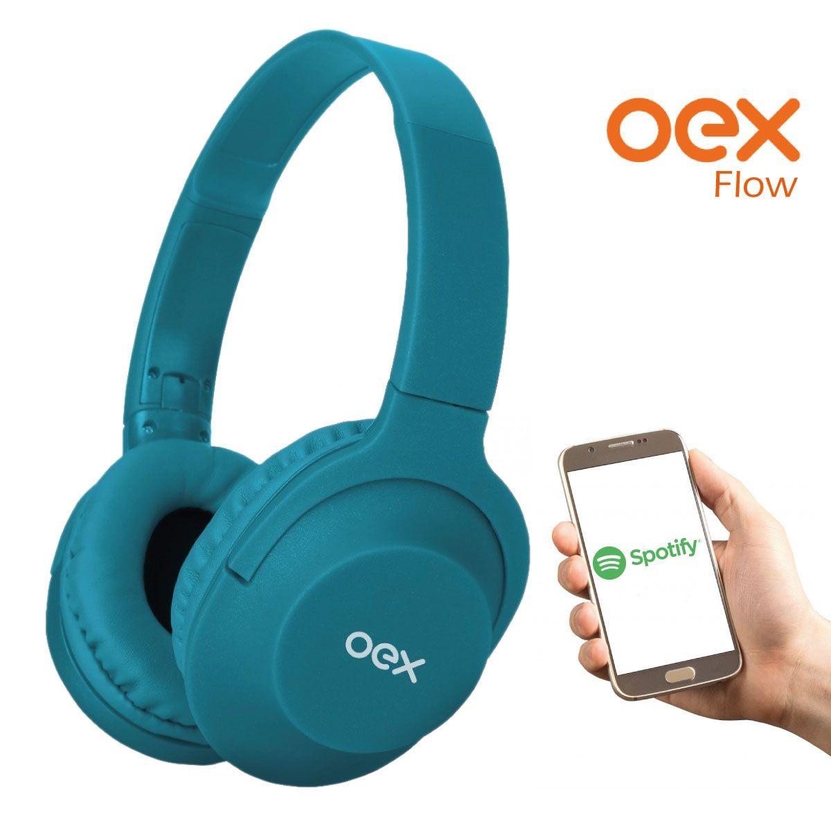 Fone De Ouvido Oex HS207 Flow com cabo removível - verde