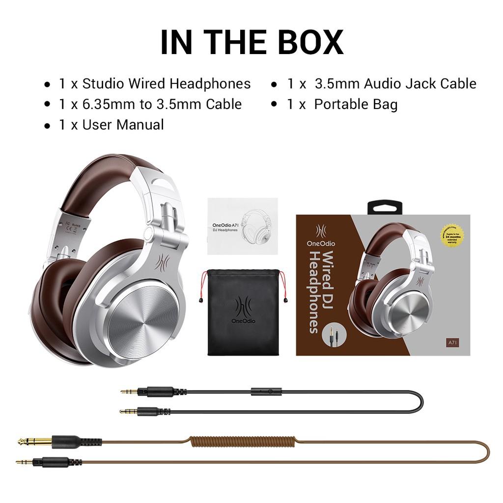 Fone de Ouvido  Oneodio A71 Headphone Silver/brown Dual Conetor