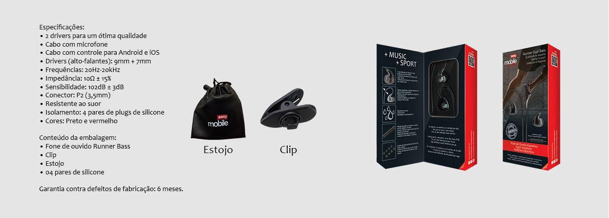 Runner Dual Bass Fone de Ouvido Easy Mobile Sport Headphone