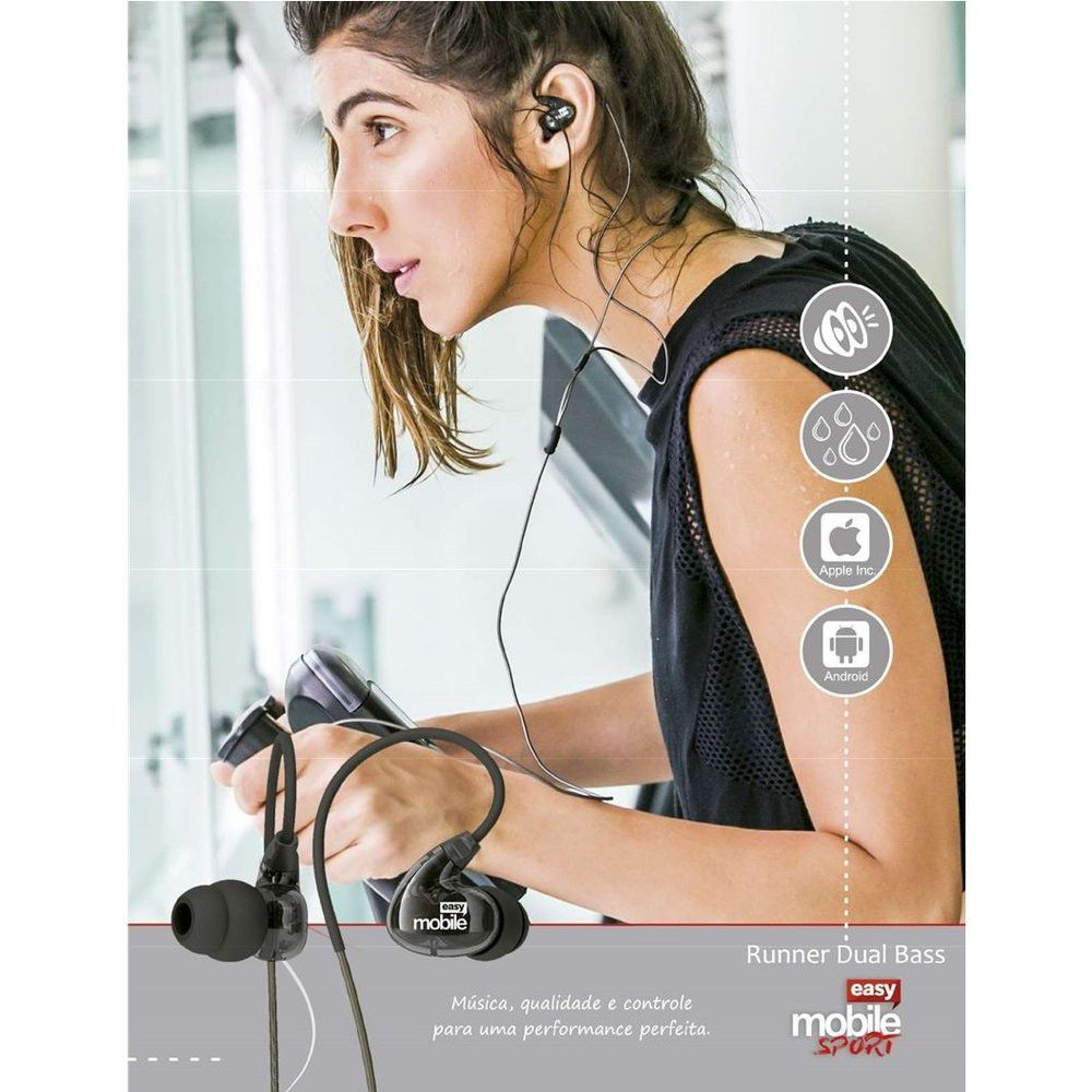 Runner Dual Bass Fone de Ouvido Easy Mobile Sport Headphone