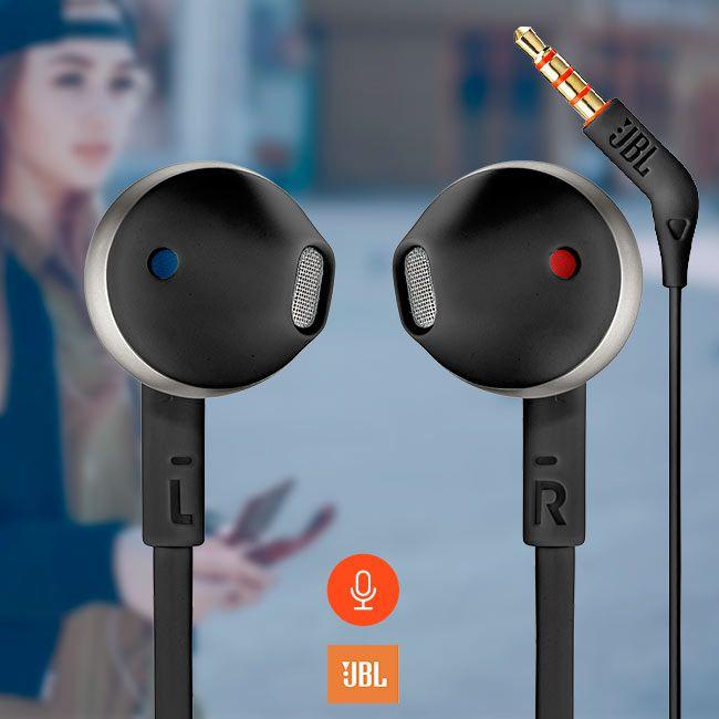 T205 JBL - Fone de Ouvido Com Microfone - In Ear - Preto