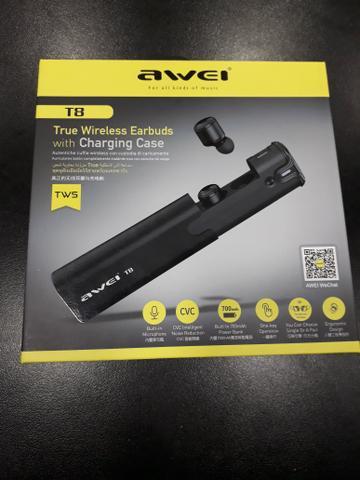 Fone de Ouvido Awei T8  TWS -  Bluetooth com carregador