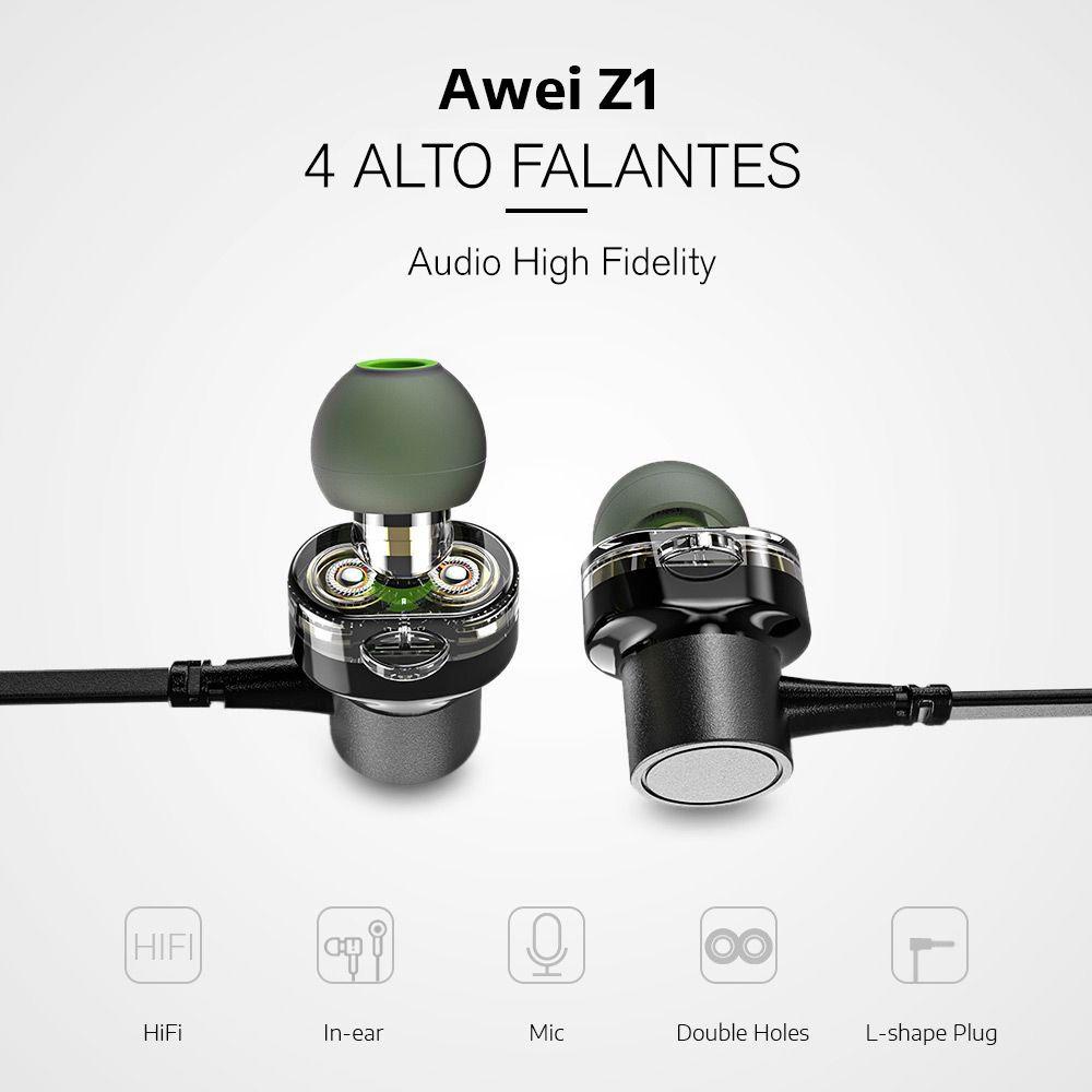 Z1 Awei - Fone de Ouvido Dual Audio e Microfone in-Ear