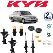 4 AMORTECEDORES HONDA CIVIC 2003 2004 2005 2006 HASTE GROSSA +KITS
