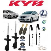 KIT 4 AMORTECEDORES KAYABA + KITS AXIOS HONDA NEW FIT  , CITY 2009 2010 2011 2012 2013 2014
