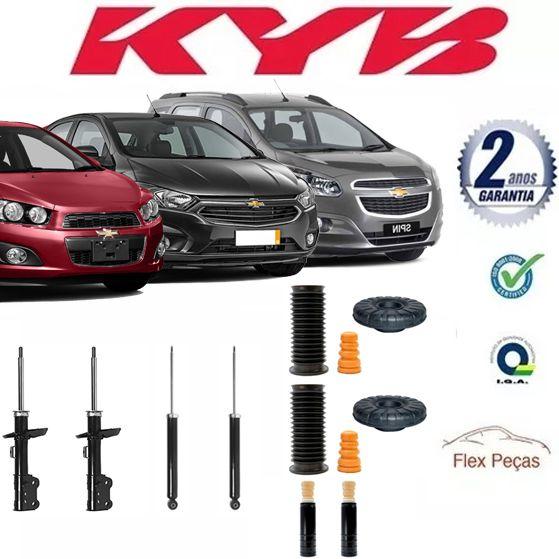 4 AMORTECEDORES CHEVROLET SONIC 2012 2013 2014 KAYABA + KITS COMPLETO  - FLEX PECAS COMERCIO DE AUTOPECAS