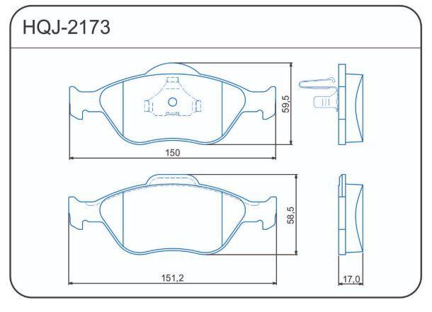 HQJ2173 - Pastilha Freio Diant Ford Ecosport Fiesta Novo  - FLEX PECAS COMERCIO DE AUTOPECAS