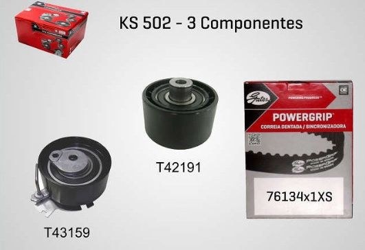 KS502 - KIT TENSOR E CORREIA GATES 206, 307, PARTNER, AIRCROSS, BERLINGO, C3, C4, C5, C8, PICASSO, XSARA