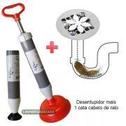 Desentupidor A Vácuo De Pia Vaso Sanitário + 1 Cata Cabelo
