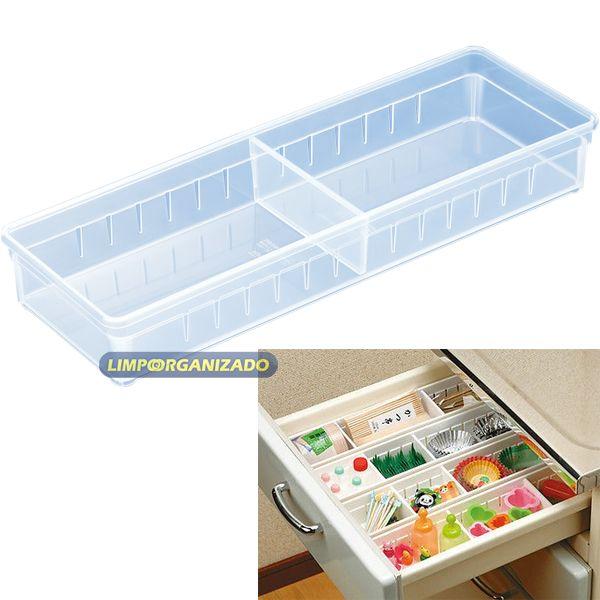 Caixa organizadora retangular com 1 divisória  - Limpo e Organizado
