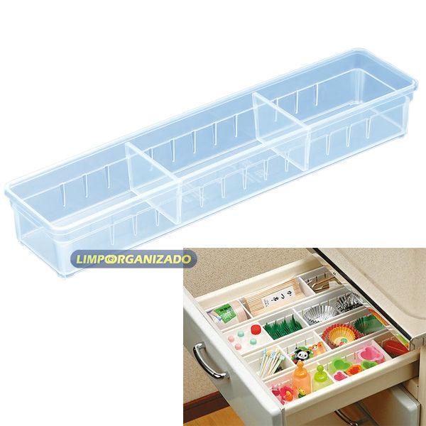 Caixa organizadora retangular com 2 divisórias   - Limpo e Organizado